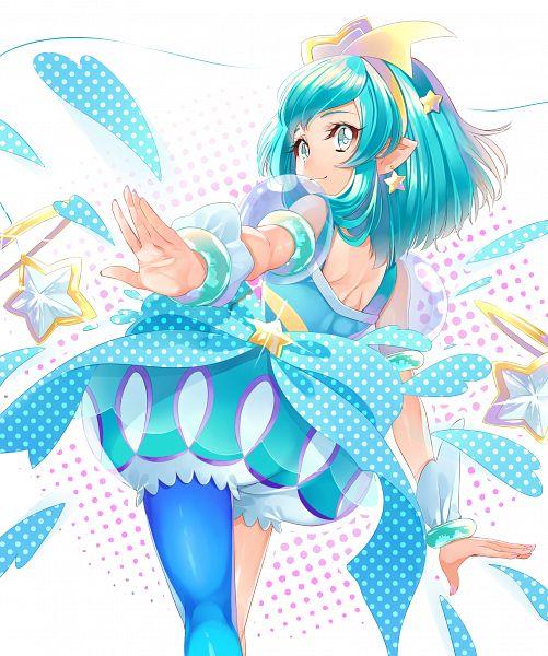 Tags: Anime, Yuutarou (Pixiv822664), Star☆Twinkle Precure, Cure Milky, Hagorumo Lala, Aqua Dress, Pixiv, Fanart, Fanart From Pixiv