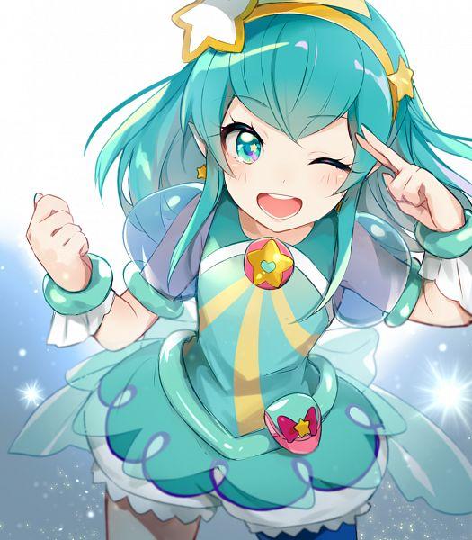 Tags: Anime, Pixiv Id 5072213, Star☆Twinkle Precure, Cure Milky, Hagorumo Lala, Aqua Dress, Pixiv, Fanart, Fanart From Pixiv