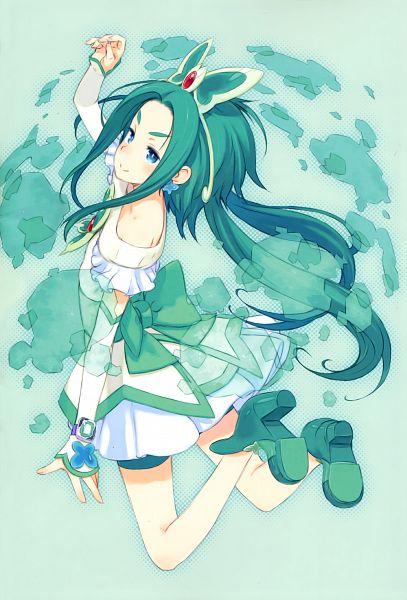 Tags: Anime, Kuroboshi Kouhaku, Yes! Precure 5, GRANADA LEVEL P, Cure Mint, Akimoto Komachi, Fanart, Scan, Mobile Wallpaper