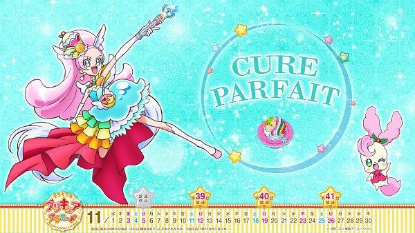 Tags: Anime, Kirakira☆Precure a la Mode, Pop'n Music, Kirahoshi Ciel, Kirarin, Cure Parfait, Official Art, Wallpaper, Calendar (Source)