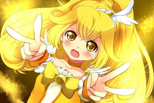 Tags: Anime, Yuki (127), Yuki (Siroikona), Smile Precure!, Kise Yayoi, Cure Peace, Double V, Fanart From Pixiv, Pixiv, Fanart