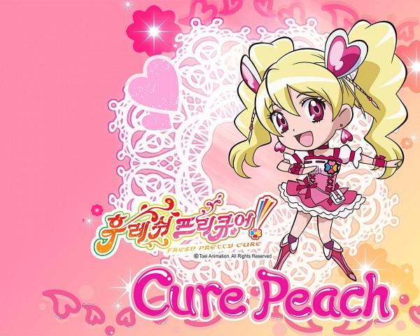 Tags: Anime, Fresh Precure!, Cure Peach, Momozono Love, Wallpaper, Official Art