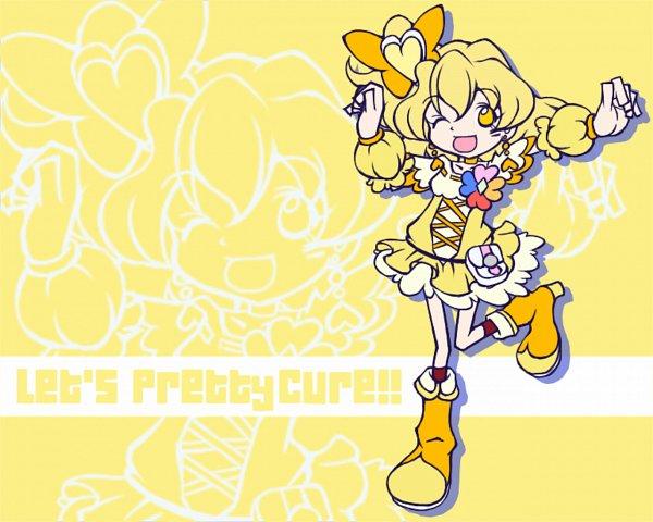 Tags: Anime, Pixiv Id 308038, Fresh Precure!, Cure Pine, Yamabuki Inori, Puyo Pop Fever (Parody), Orange Footwear, Fanart From Pixiv, Fanart, Pixiv