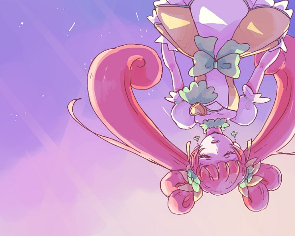 Tags: Anime, Pixiv Id 1720957, Dokidoki! Precure, Cure Rosetta, Yotsuba Alice, Sunrise, Green Flower, Pixiv, Fanart, Fanart From Pixiv