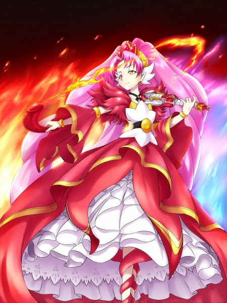 Tags: Anime, Pixiv Id 3411146, Go! Princess Precure, Cure Scarlet, Akagi Towa, Gown, Playing Violin, Pixiv, Fanart, Mobile Wallpaper, Fanart From Pixiv