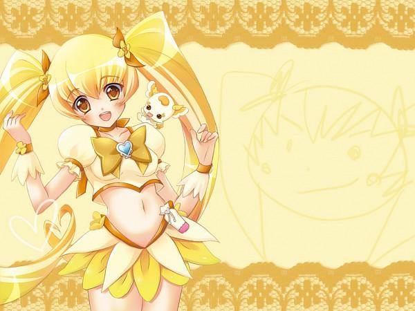 Tags: Anime, Pixiv Id 51703, Heartcatch Precure!, Myoudouin Itsuki, Cure Sunshine, Potpourri, Flower Skirt, Wallpaper, Fanart, Pixiv