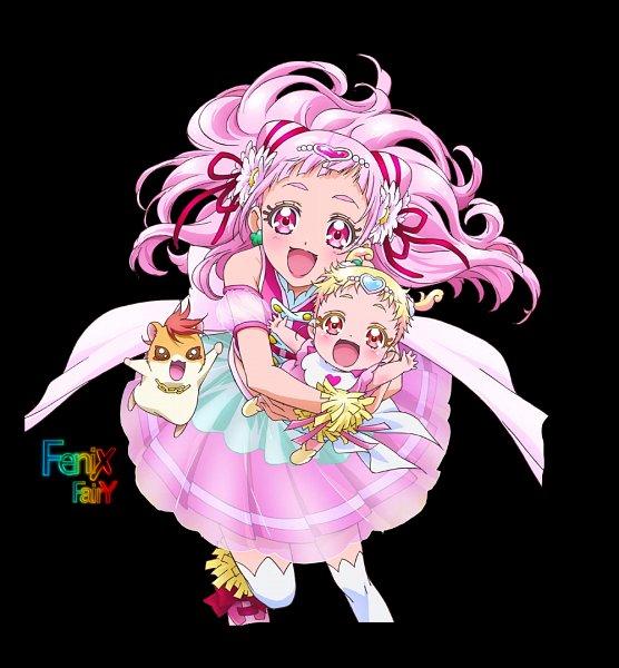 Tags: Anime, HUGtto! Precure, Hariham Harry, Hug-tan, Nono Hana, Cure Yell, Hamster, Fanart From DeviantART, deviantART, Fanart, Null