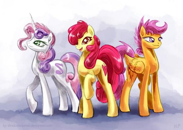 Tags: Anime, KP-ShadowSquirrel, My Little Pony, Scootaloo, Sweetie Belle, Apple Bloom, Fanart From DeviantART, deviantART, Fanart, Cutie Mark Crusader