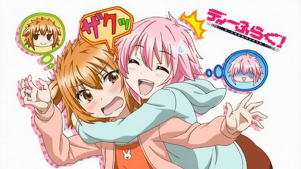 Tags: Anime, D-Frag!, Mizukami Sakura, Kazama Noe, Orange Outerwear, Blue Hoodie, Open Hoodie, Screenshot, Wallpaper