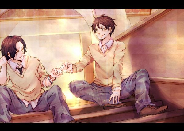 Tags: Anime, Pixiv Id 1388683, ONE PIECE, Monkey D. Luffy, Portgas D. Ace, Bro Fist, Fanart From Pixiv, Fanart, Pixiv, D. Brothers