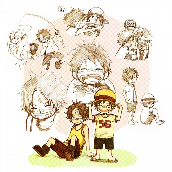 Tags: Anime, ONE PIECE, Portgas D. Ace, Monkey D. Luffy, Fanart, D. Brothers, Straw Hat Pirates