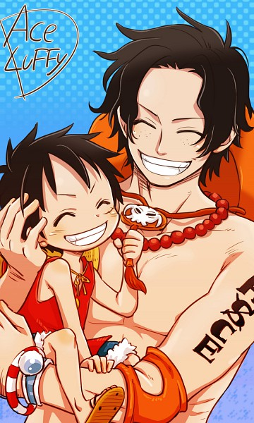 Tags: Anime, Yu-bec, ONE PIECE, Portgas D. Ace, Monkey D. Luffy, Mobile Wallpaper, Straw Hat Pirates, D. Brothers