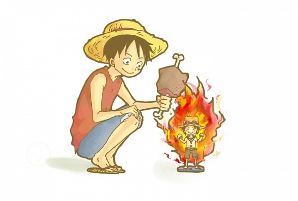 Tags: Anime, Pixiv Id 41466, ONE PIECE, Portgas D. Ace, Monkey D. Luffy, Meat, Fanart From Pixiv, Fanart, Pixiv, D. Brothers, Straw Hat Pirates