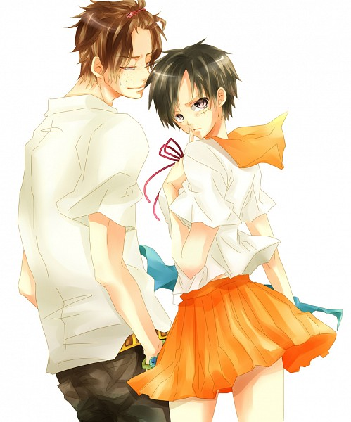Tags: Anime, Togashi (Isagot), ONE PIECE, Portgas D. Ace, Monkey D. Luffy, Luffy (Female), Fanart, Pixiv, D. Brothers