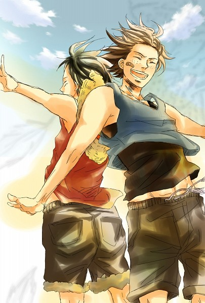Tags: Anime, Togashi (Isagot), ONE PIECE, Portgas D. Ace, Monkey D. Luffy, Fanart, Pixiv, Mobile Wallpaper, D. Brothers