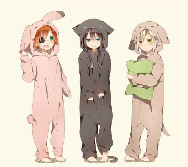 Tags: Anime, Pixiv Id 3473008, D.Gray-man, Allen Walker, Kanda Yuu, Lavi, Cat Costume, Kigurumi, Dog Costume, Pixiv, Fanart