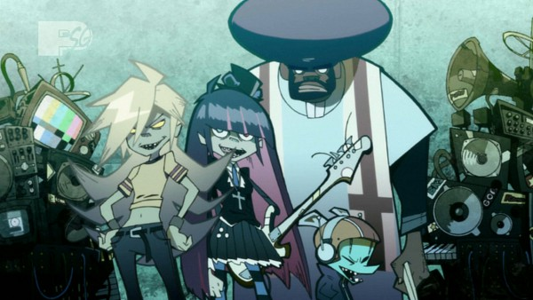Tags: Anime, Panty and Stocking With Garterbelt, Anarchy Stocking, Anarchy Panty, Chuck (PSG), Garterbelt (PSG), Gorillaz (Parody), Afro, Screenshot, Facebook Cover, Wallpaper, D Rock City