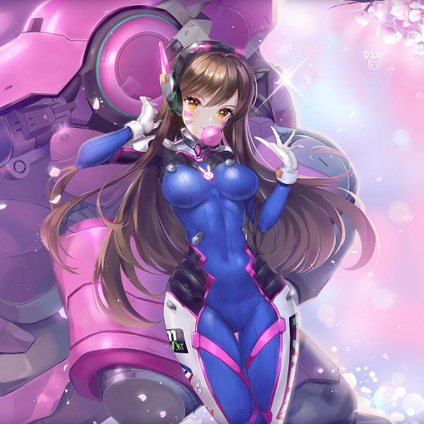 Tags: Anime, Pixiv Id 18048361, Overwatch, D.Va, Gum, PNG Conversion, Pixiv, Fanart, Fanart From Pixiv
