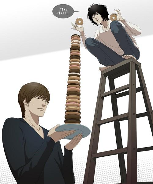 Tags: Anime, Doubleleaf, DEATH NOTE, Yagami Raito, L Lawliet, Ladder, deviantART, Fanart