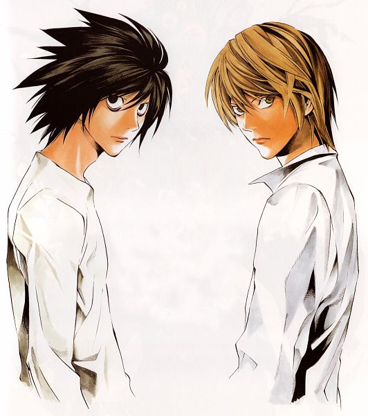 Tags: Anime, Obata Takeshi, DEATH NOTE, Yagami Raito, L Lawliet, Bags Under Eyes, Official Art