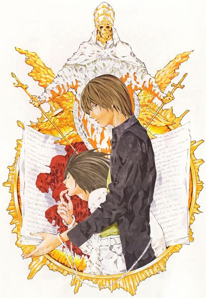 Tags: Anime, Obata Takeshi, DEATH NOTE, Yagami Raito, L Lawliet, Monk, Notas, Scan, Mobile Wallpaper, Official Art