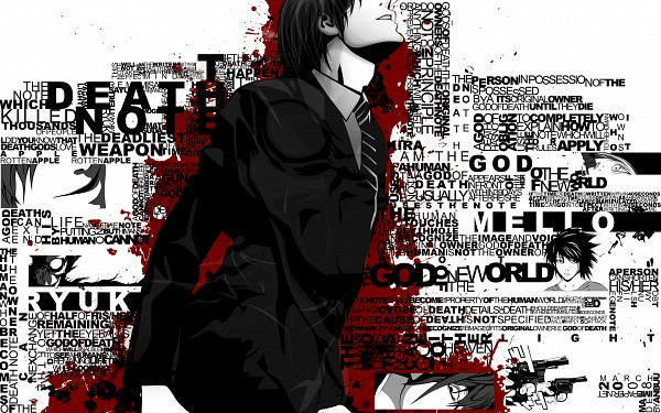 Tags: Anime, Obata Takeshi, DEATH NOTE, Mello, Ryuk, L Lawliet, Yagami Raito, God, Word Cloud, Shinigami, 2560x1600 Wallpaper, Fanmade Wallpaper, Wallpaper