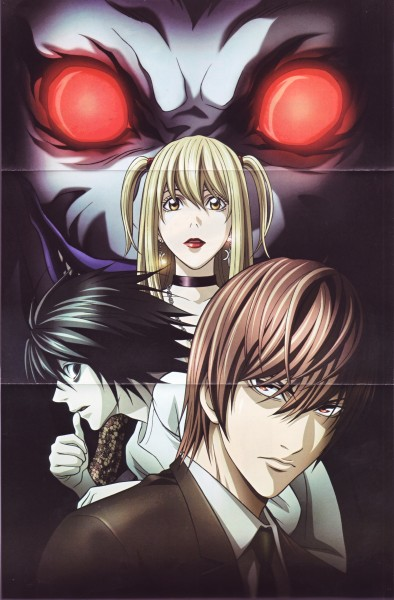 Tags: Anime, MADHOUSE, DEATH NOTE, Ryuk, L Lawliet, Amane Misa, Yagami Raito, Mobile Wallpaper, Official Art