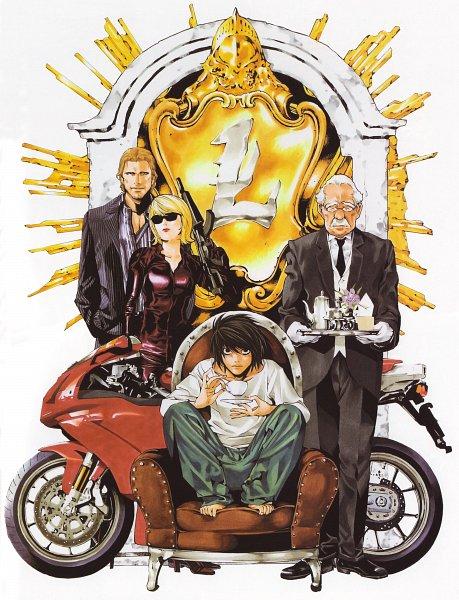 Tags: Anime, Obata Takeshi, DEATH NOTE, Blanc et Noir, L Lawliet, Tierry Morello, Halle Lidner, Watari, Art Nouveau, Official Art, Scan