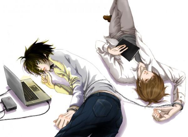 Tags: Anime, Nattsu, DEATH NOTE, Yagami Raito, L Lawliet, Death Note (Object), Fanart