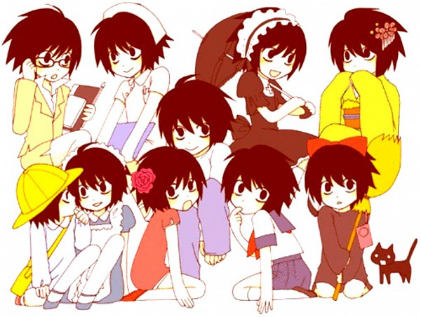 Tags: Anime, DEATH NOTE, Majo no Takkyuubin, L Lawliet, Yellow Outerwear, :>, Yellow Skirt, Artist Request