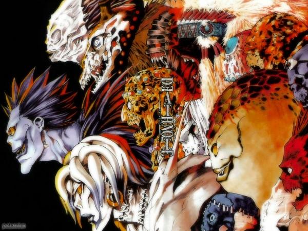 Tags: Anime, Obata Takeshi, DEATH NOTE, Ryuk, Rem (DEATH NOTE), Shidou, Wallpaper