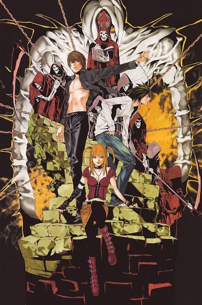 Tags: Anime, Obata Takeshi, DEATH NOTE, Yagami Raito, L Lawliet, Amane Misa, God, Art Nouveau, Mobile Wallpaper, Scan, Official Art