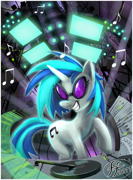 Tags: Anime, 14-bis, My Little Pony, DJ Pon-3, Cutie Mark, Disc Jockey, Fanart From DeviantART, deviantART, Fanart