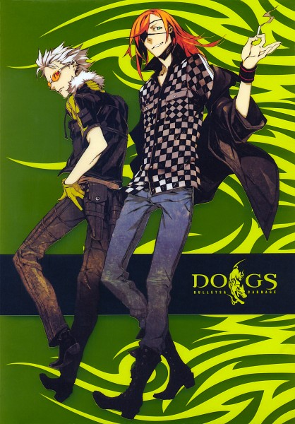 Tags: Anime, Miwa Shirow, DOGS: Bullets & Carnage, Haine Rammsteiner, Badou Nails, Yellow Gloves, Official Art, Scan, Mobile Wallpaper