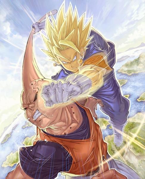Tags: Anime, Katsutake, DRAGON BALL, DRAGON BALL Z, Majin Buu, Son Goku (DRAGON BALL), Vegito, Vegeta, Pink Skin, Potara, Aura, Character Fusion, Punching