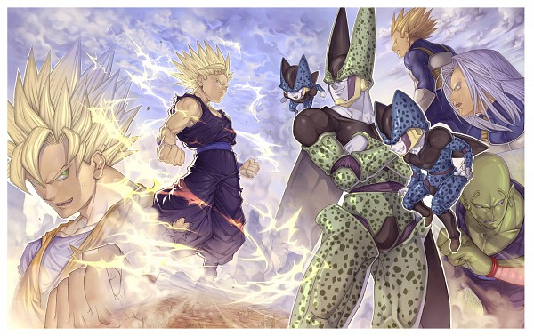 Tags: Anime, Katsutake, DRAGON BALL, DRAGON BALL Z, Son Gohan, Vegeta, Trunks Briefs, Piccolo, Cell (DRAGON BALL), Son Goku (DRAGON BALL), Aura, Fanart, Pixiv