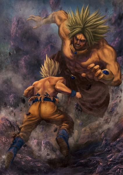 Tags: Anime, DRAGON BALL, Son Goku (DRAGON BALL), Broly, Legendary Super Saiyan, Mobile Wallpaper, Super Saiyan