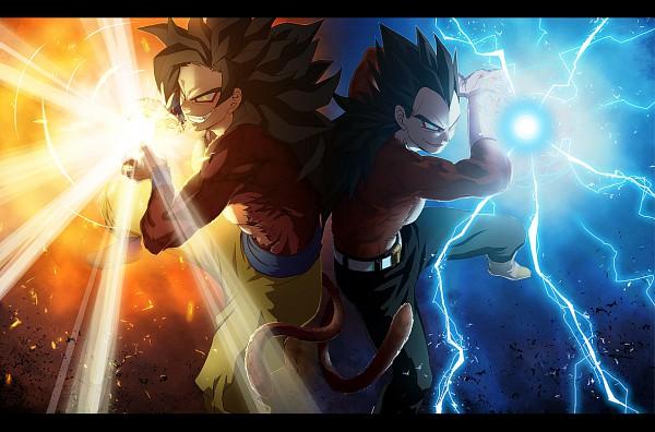 Tags: Anime, Pixiv Id 1255724, DRAGON BALL, DRAGON BALL GT, Son Goku (DRAGON BALL), Vegeta, Wallpaper, Super Saiyan, Super Saiyan 4