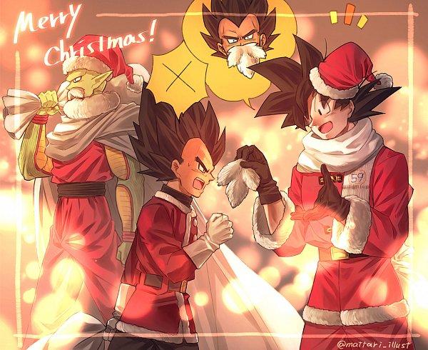 Tags: Anime, Pixiv Id 46367193, DRAGON BALL, DRAGON BALL Z, Piccolo, Son Goku (DRAGON BALL), Vegeta, Fake Beard, Arguing, Sack, Pixiv