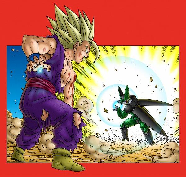 Tags: Anime, Pixiv Id 46703904, DRAGON BALL, DRAGON BALL Z, Cell (DRAGON BALL), Son Gohan, Pixiv, Super Saiyan 2, Super Saiyan