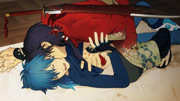 Tags: Anime, Honya Lala, Nitro+CHiRAL, DRAMAtical Murder, Seragaki Aoba, Koujaku, Kiss On The Neck, Wallpaper, CG Art, HD Wallpaper, Facebook Cover