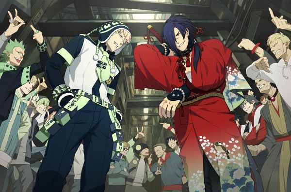 Tags: Anime, Honya Lala, Nitro+CHiRAL, DRAMAtical Murder, Noiz (DMMd), Koujaku, Crowd, Upward Angle, CG Art, Official Art