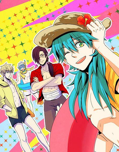 Tags: Anime, Pixiv Id 20788, Nitro+CHiRAL, DRAMAtical Murder, Seragaki Aoba, Koujaku, Clear (DMMd), Noiz (DMMd), Chest, Snorkeling, Cros, Snorkel, Fanart