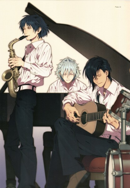 Tags: Anime, Honya Lala, Nitro+CHiRAL, DRAMAtical Murder, Clear (DMMd), Koujaku, Ren (Human), Saxophone, Drum, Mobile Wallpaper, Scan, Official Art