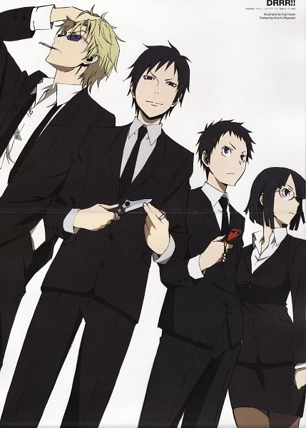 Tags: Anime, Hisaki Kouji, Brains Base (Studio), DURARARA!!, Heiwajima Shizuo, Sonohara Anri, Orihara Izaya, Ryuugamine Mikado, Crease, Scan, Official Art, Mobile Wallpaper