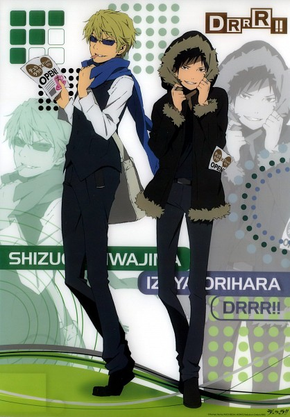 Tags: Anime, Brains Base (Studio), DURARARA!!, Heiwajima Shizuo, Orihara Izaya, Mobile Wallpaper, Scan, Official Art