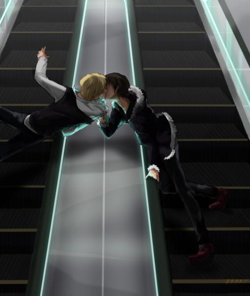 Tags: Anime, Mitani, DURARARA!!, Heiwajima Shizuo, Orihara Izaya, Elevator, Escalator, Pixiv, Shizaya