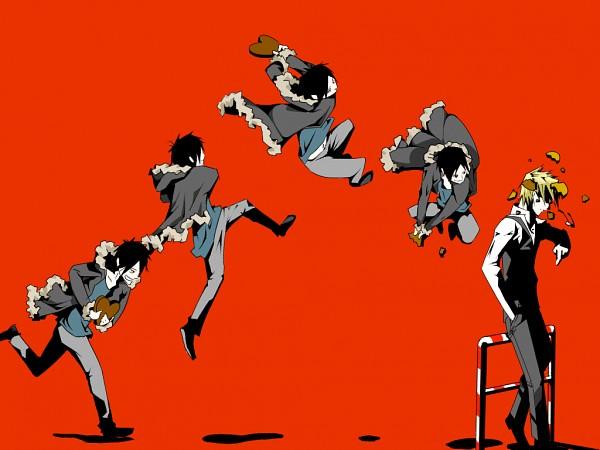 Tags: Anime, Pikushibuaidhy, DURARARA!!, Heiwajima Shizuo, Orihara Izaya, Throwing, Chocolate Heart, Chronophotography, Wallpaper, Fanart, Fanart From Pixiv, PNG Conversion, Pixiv