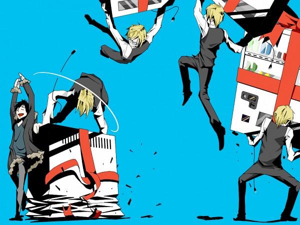 Tags: Anime, Pikushibuaidhy, DURARARA!!, Heiwajima Shizuo, Orihara Izaya, Vending Machine, Bartender, Dodging, Chronophotography, Wallpaper, Fanart From Pixiv, Fanart, PNG Conversion