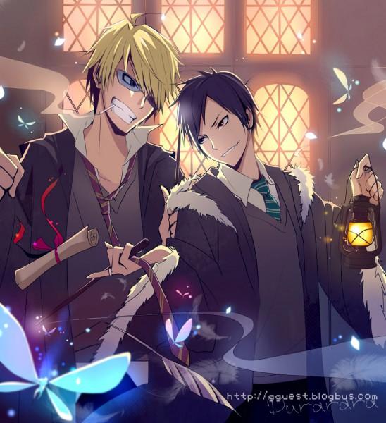 Tags: Anime, Bobo (Pixiv), DURARARA!!, Heiwajima Shizuo, Orihara Izaya, Harry Potter (Cosplay), Cigar, Pixiv, Fanart, Gryffindor House, Slytherin House